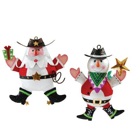 holiday western cowboy christmas ornament assortment of 2 santa snowman - Santa Snowman 2