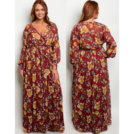 JED FASHION Women\'s Plus Size Floral Long Sleeve Maxi Dress