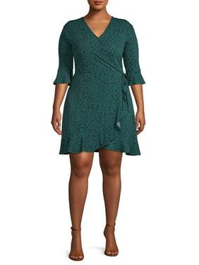 Concepts Women's Plus Size 3/4 Sleeve Faux Wrap Dress