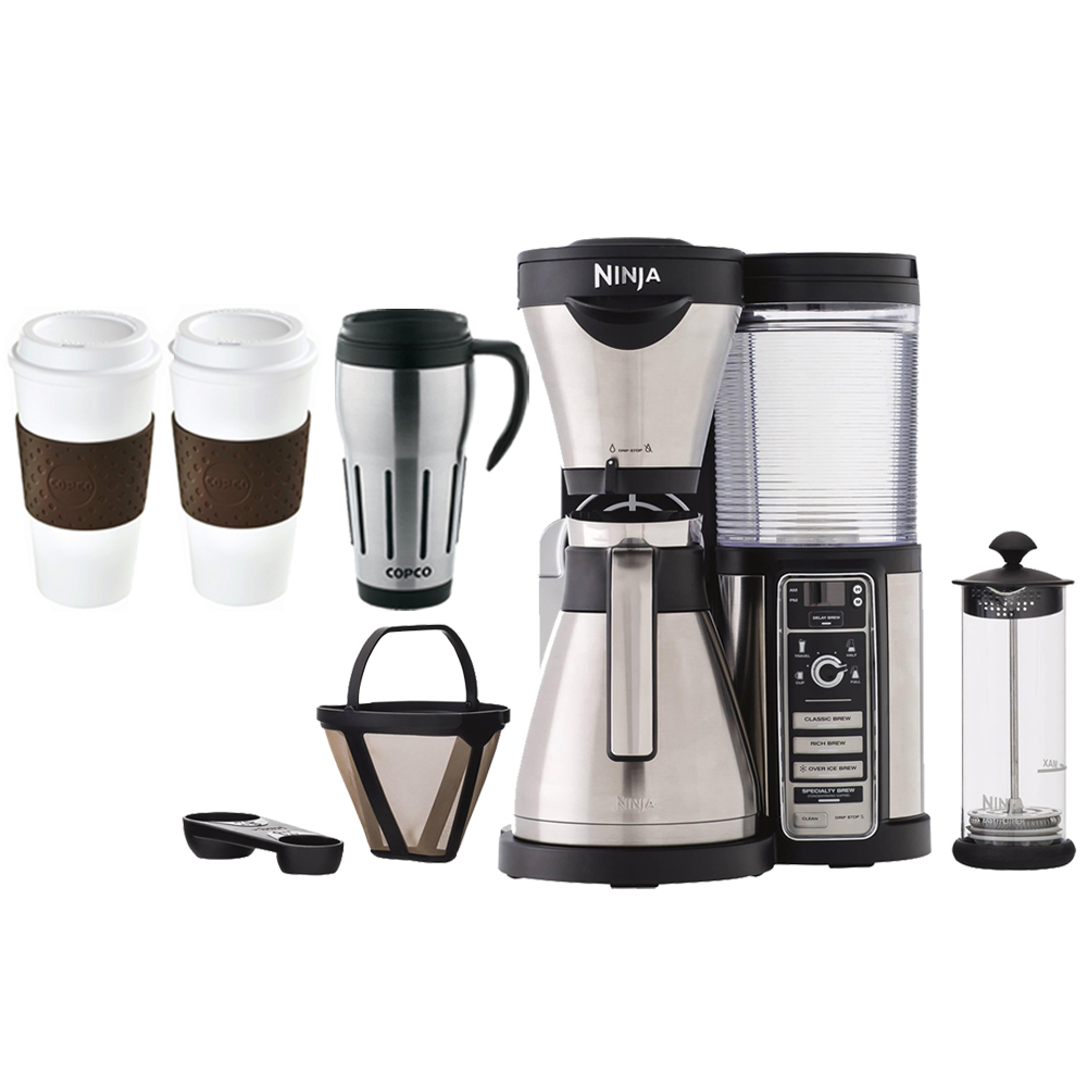 Ninja CF086 Coffee Bar Brewer with Thermal Carafe - Stainless Steel/Black w/Bundle Includes  Copco 24-Ounce Big Joe Thermal Travel Mug, 2x Copco Eco-First - BPA Free - Reusable To Go Mug, Brown 16oz