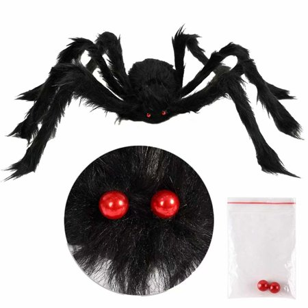 Halloween Scary Prank Candy (Emovendo 47 Inch 120CM Large Size Black Realistic Fake Hairy Spider, Giant Halloween Scary Prank Props Decoration for Outdoor Halloween Party, Garden Patio Spiderweb)