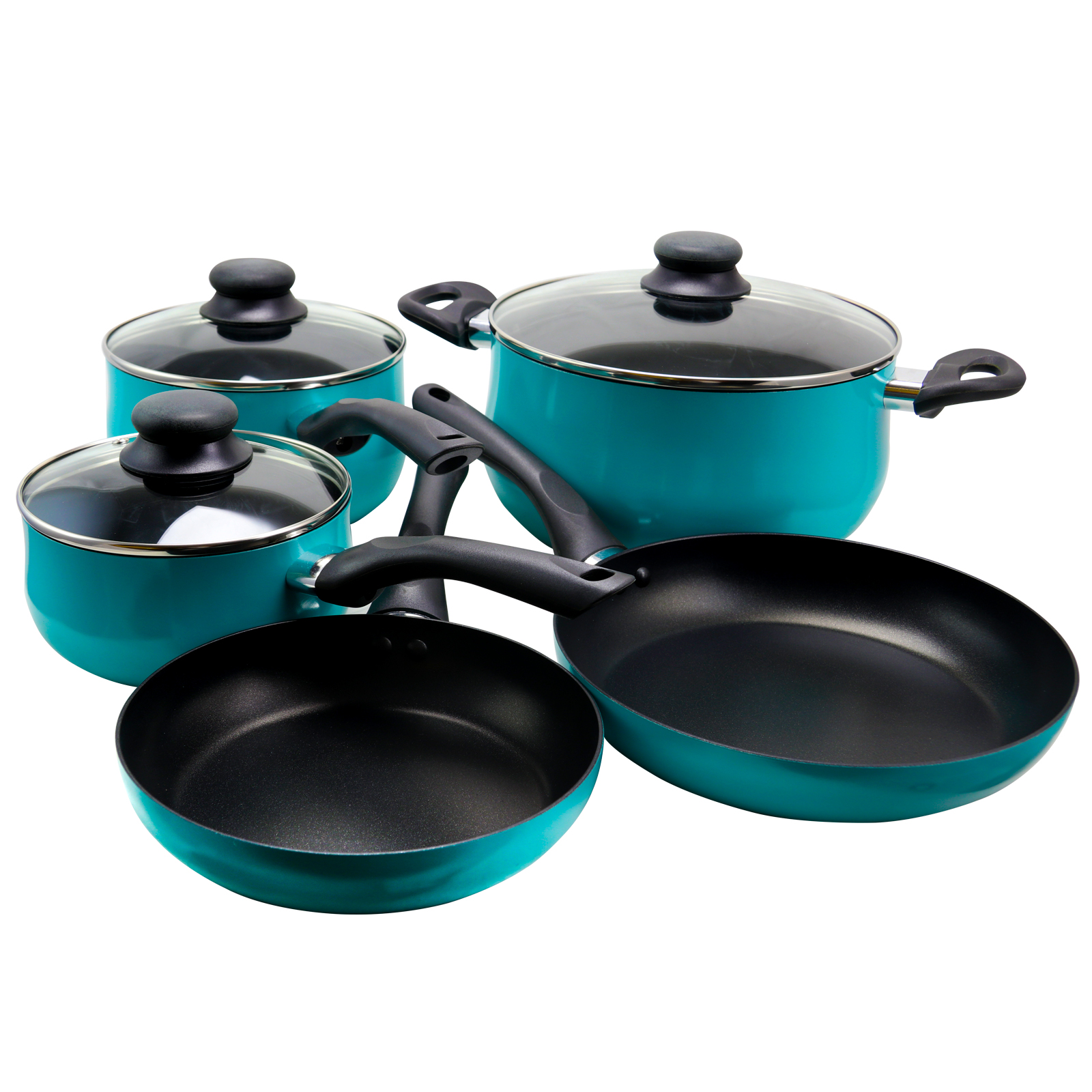 Sunbeam Reddick 8 Piece Belly Shape Cookware in Turquoise