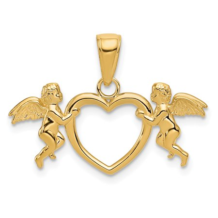 14k Yellow Gold Flying Cherubs Holding Heart Pendant Charm Necklace Love Gifts For Women For Her