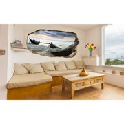 Startonight 3D Mural Wall Art Photo Decor Boats on the Sand II Amazing Dual View Surprise Wall Mural Wallpaper Beach Art Gift Large 47.24 '' By 86.61 ''