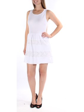 CITY STUDIO Womens White Textured, Lace Sleeveless Scoop Neck Above The Knee Fit + Flare Dress Juniors Size: 9