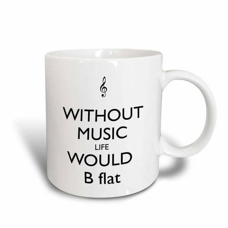 Blues Mug Music (3dRose Without music life would be flat, Ceramic Mug,)
