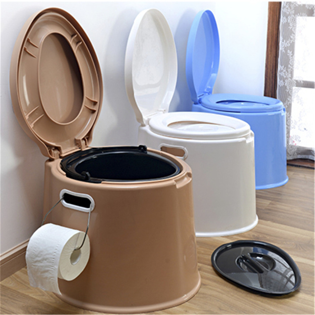 Arzil Portable Travel Toilet Compact Potty Bucket Seats w / Waste Tank For Camping and Hiking Indoor Outdoor Boating, Caravan, Campsite, Hospital Gallon Toilet