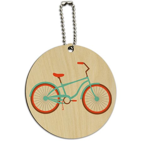 Bicycle Bike Cycling Cycle Round Wood ID Tag Luggage Card for Suitcase or