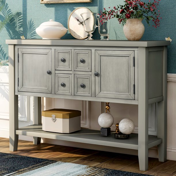 Parsons Console Table With 4 Storage, Console Table With Storage Bins