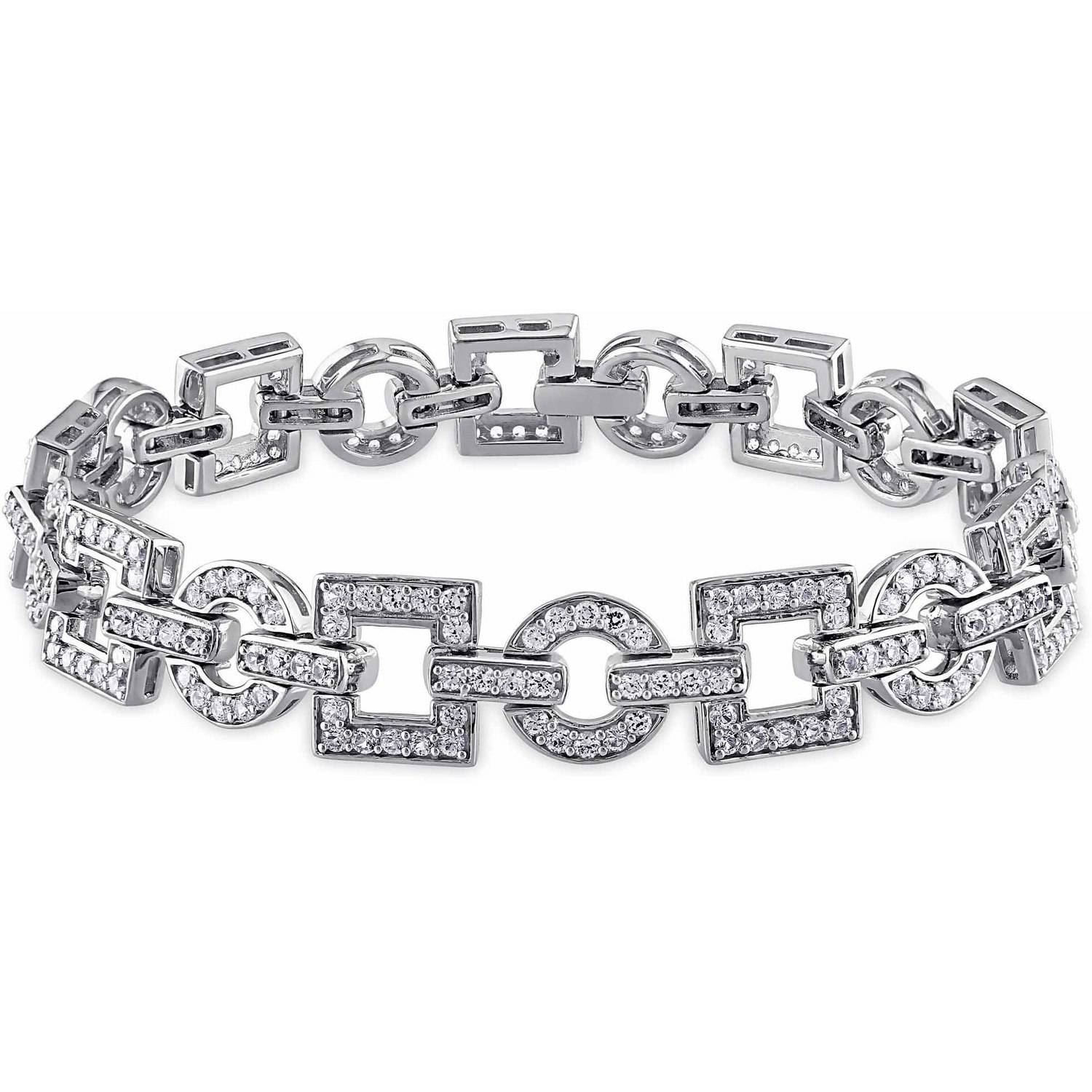 5-3/4 Carat T.G.W. Created White Sapphire Sterling Silver Fashion Bracelet, 7.25""