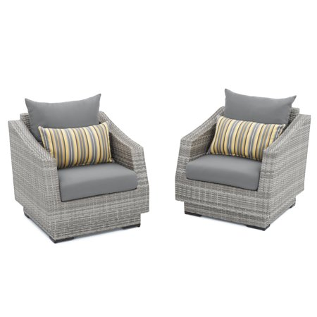 Rst Green (Cannes Set of 2 Club Chairs with Sunbrella Charcoal Grey Cushions by RST)