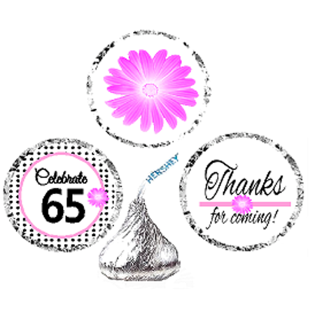 CakeSupplyShop Item#065BPH 65th Birthday / AnniversaryPink Black Polka Dot Party Favor Hershey Kisses Candy Stickers / Labels -216ct (65th Birthday Ideas)