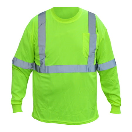 Forester Class 2 Long Sleeve Shirt. Safety Green With Reflective Tape. Part Number 9051LONG-M. Size Medium.