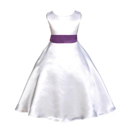 Ekidsbridal Formal Satin White A-Line Flower Girl Dress Bridal Bridesmaid Wedding Pageant Toddler Recital Easter Summer Reception Communion Graduation Baby Baptism Special Occasions 821s](Gold Greek Dress)