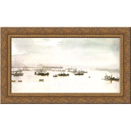 Minesweepers At Dover 24X16 Gold Ornate Wood Framed Canvas Art By Philip Wilson Steer