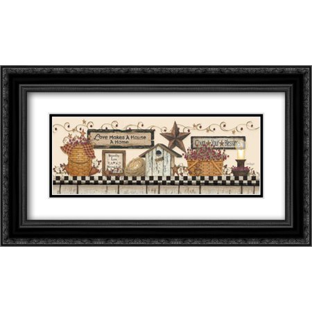 Love Makes a House a Home 2x Matted 24x14 Black Ornate Framed Art Print by Spivey, Linda