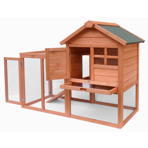 Merax Wooden Rabbit Hutch Bunny House Cage with Fence and Ramp by Merax