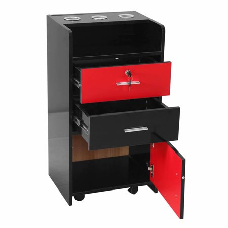 Salon Wood Rolling Drawer Cabinet Trolley Spa 3-layer Cabinet Equipment with A Lock Black & Red