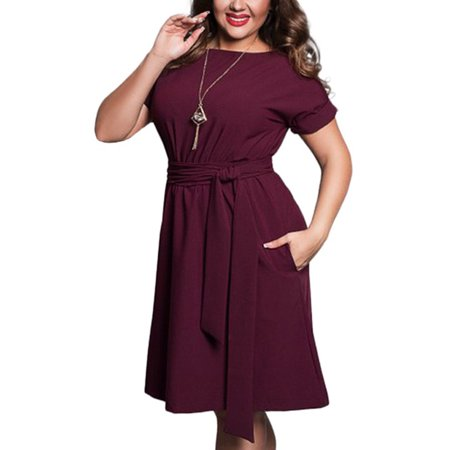 Plus Size Summer Women Casual Short Sleeve Solid Beach Dress