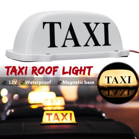 Waterproof Magnetic Base Yellow LED Car Cab Taxi Top Roof Sign Light Lamp Box