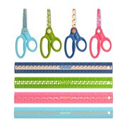 """Westcott Sports Scissors, Kids Ages 4+, 5"""" Blunt Tip, and 12"""" Sports Ruler, 24 Pack, Assorted Colors"""