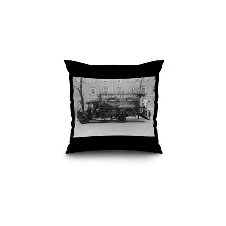 Post Office Truck Decorated for Christmas Photograph (16x16 Spun Polyester Pillow, Black Border) ()