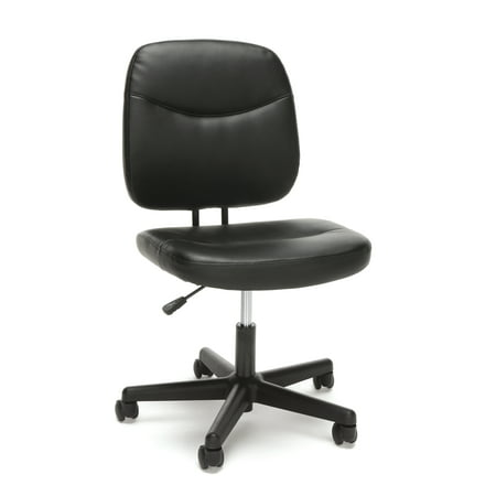 - Essentials by OFM ESS-6005 Armless Leather Office Desk Chair, Black