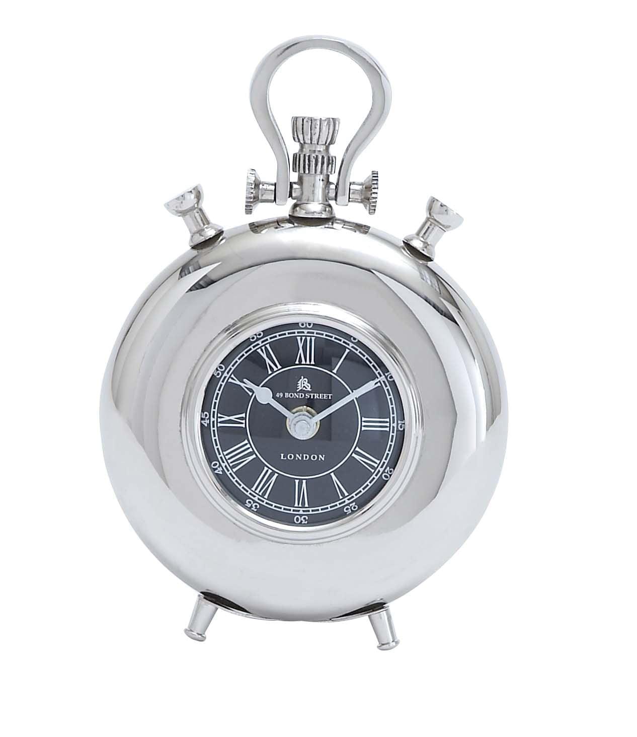 Nickel Plated Table Clock by Benzara