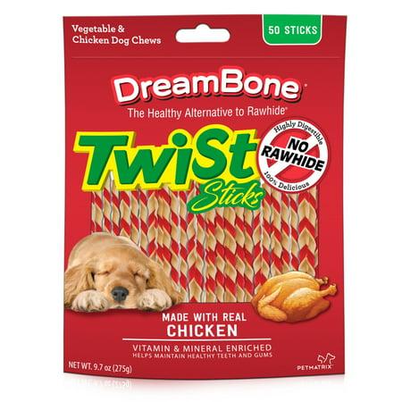 DreamBone Chicken Twist Sticks Dog Chews, 50-Count