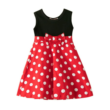 Kids Girls Cartoon Polka Dot Minnie Mouse Party Sleeveless Dress Perfect Polka Dot Dress