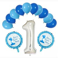 First Baby Boy Happy Birthday Party Blue & Sky Blue Color Balloons with One 36' Silver Foil Balloon Decoration Pack (Set of 13 Balloons)