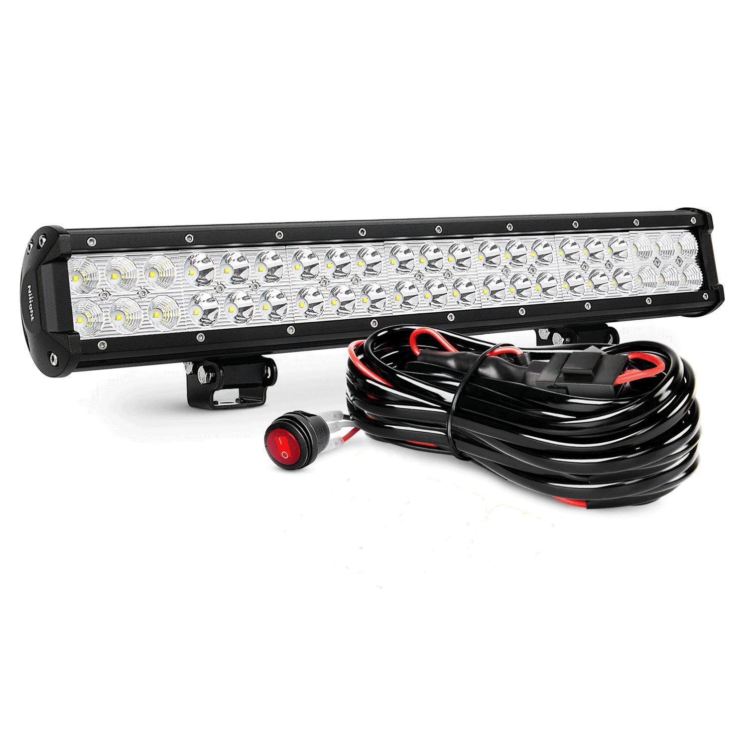 "Nilight ZH006 20"" 126W Spot Flood Combo LED Bar/Work Driving Light with Off Road Wiring Harness"