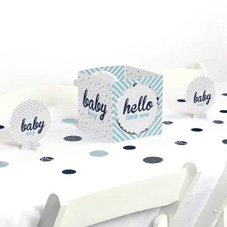 Hello Little One - Blue and Silver - Boy Baby Shower Party Centerpiece & Table Decoration Kit](Blue Baby Shower Decorations)