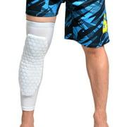 Sports Knee Pad WADEO Honeycomb Knee Pad Anti-slip Basketball Leg Long Sleeve Ergonomic Knee Protector, White, S