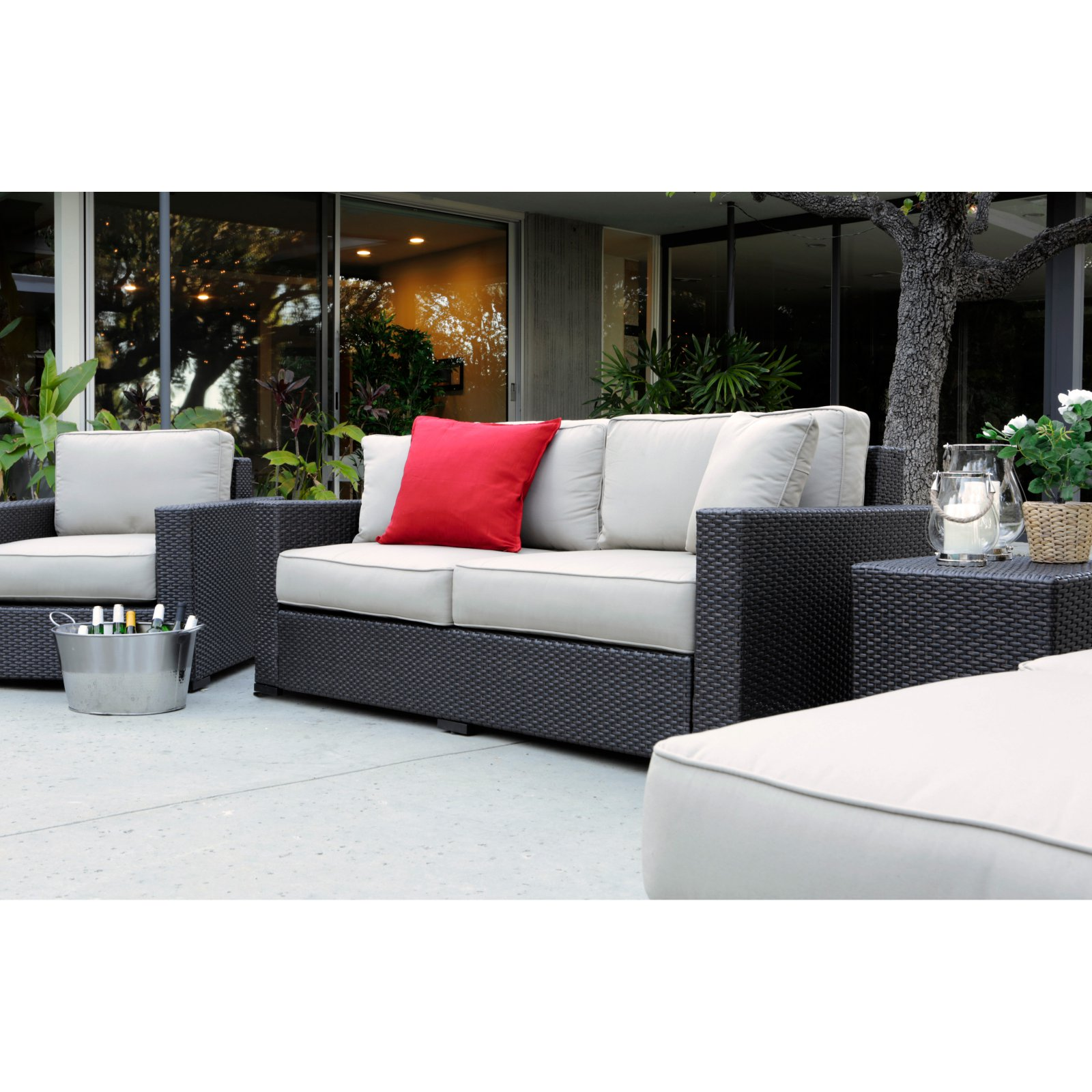 Wondrous Serta Laguna Outdoor Sofa Brown Wicker Caraccident5 Cool Chair Designs And Ideas Caraccident5Info