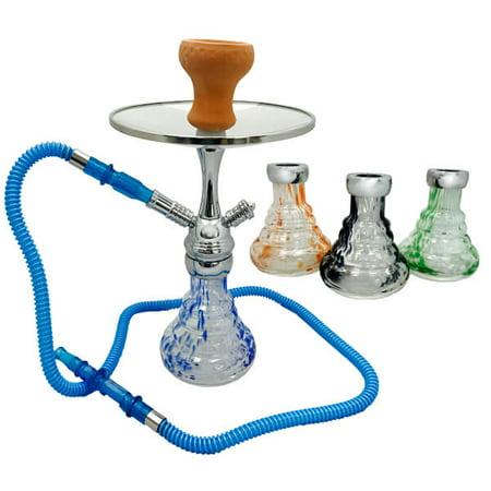 KAYA MAGNA HOOKAH: Portable hookah with magnetic stem and glass, swirled vase and multi hose capabilities (Green) (Glass Hookah Kaya)