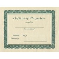 Certificate-Recognition (Parchment) (8-1/2  x 11) (Pack Of 6)