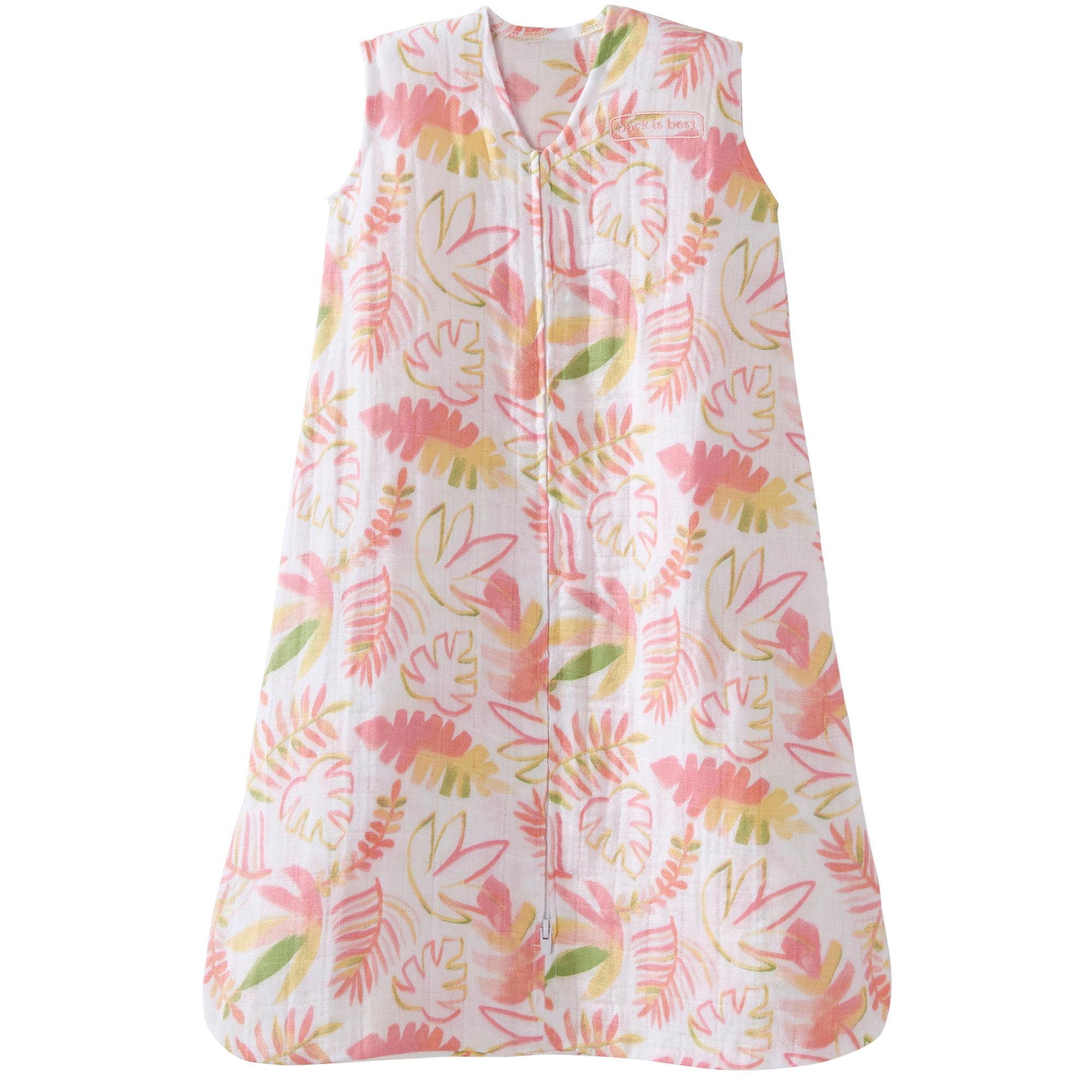 Halo 100% Cotton Muslin Baby Sleepsack Wearable Blanket, Pink Leaves, Large