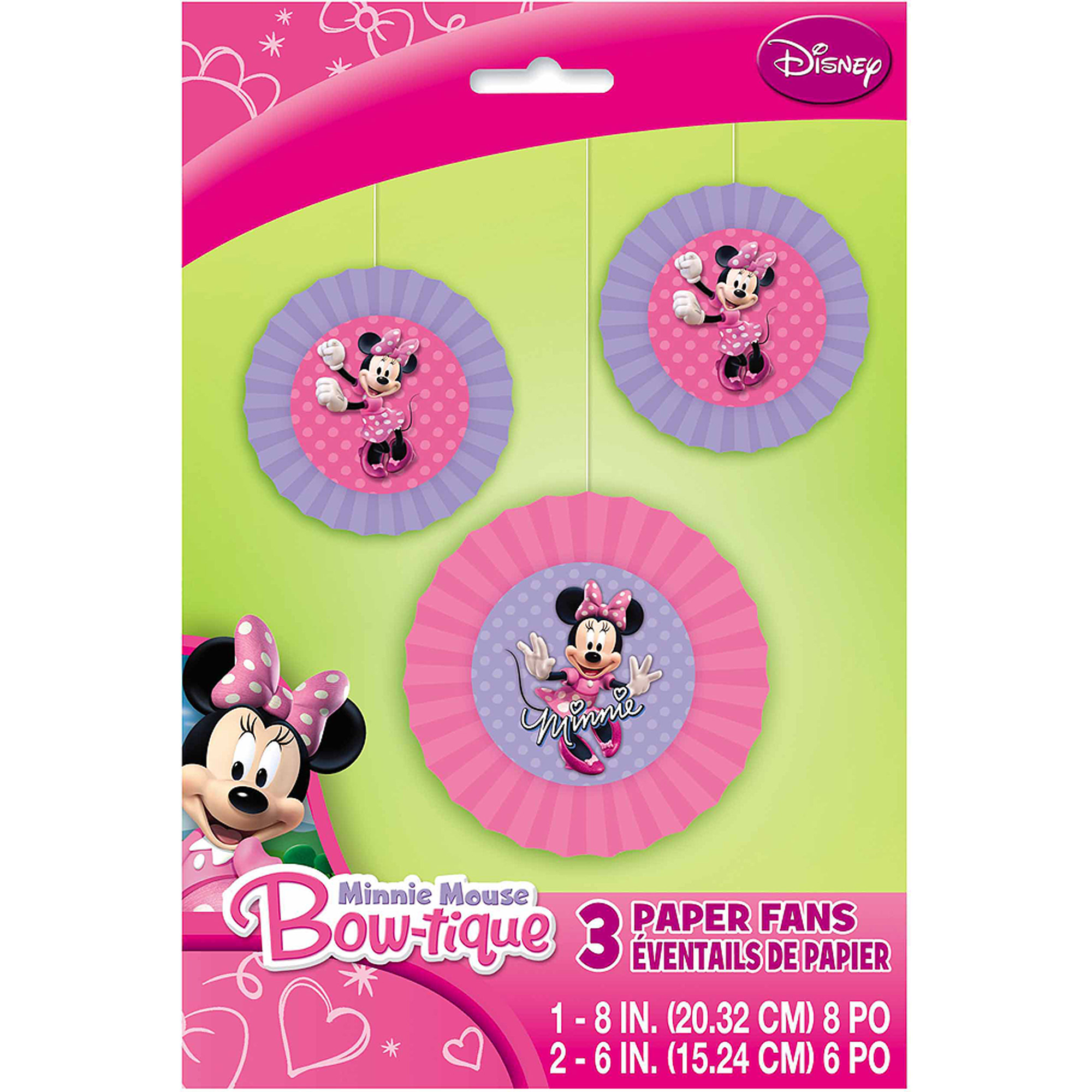 Disney Minnie Mouse Tissue Paper Fan Decorations, 3ct