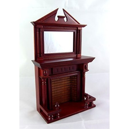 Dollhouse Miniature Wooden Furniture Mahogany Fireplace with Mantle Mirrror