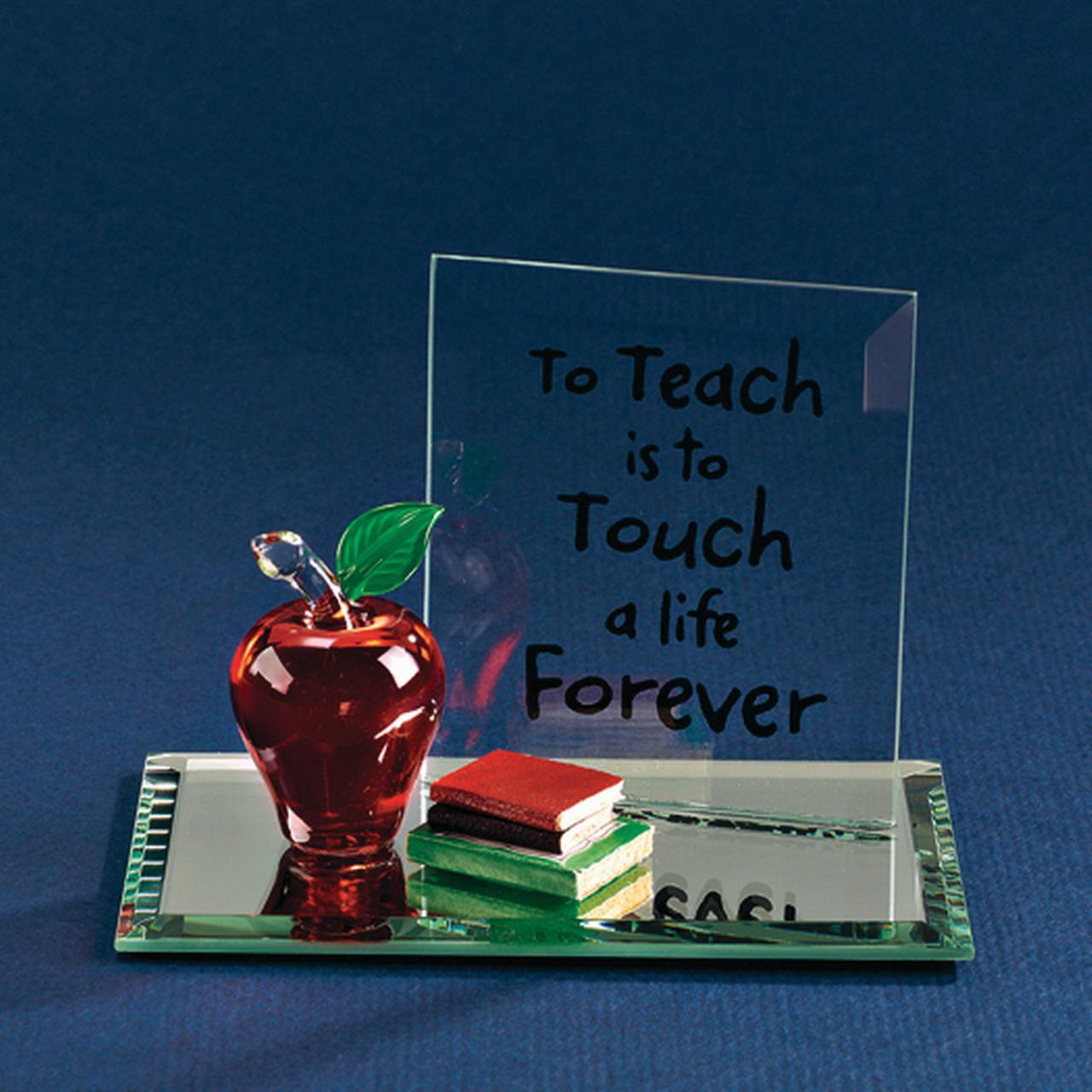 Apple To Teach Glass Figurine Religious Baptism/christening/communion Profession Care Giver Volunteer Teacher For Women