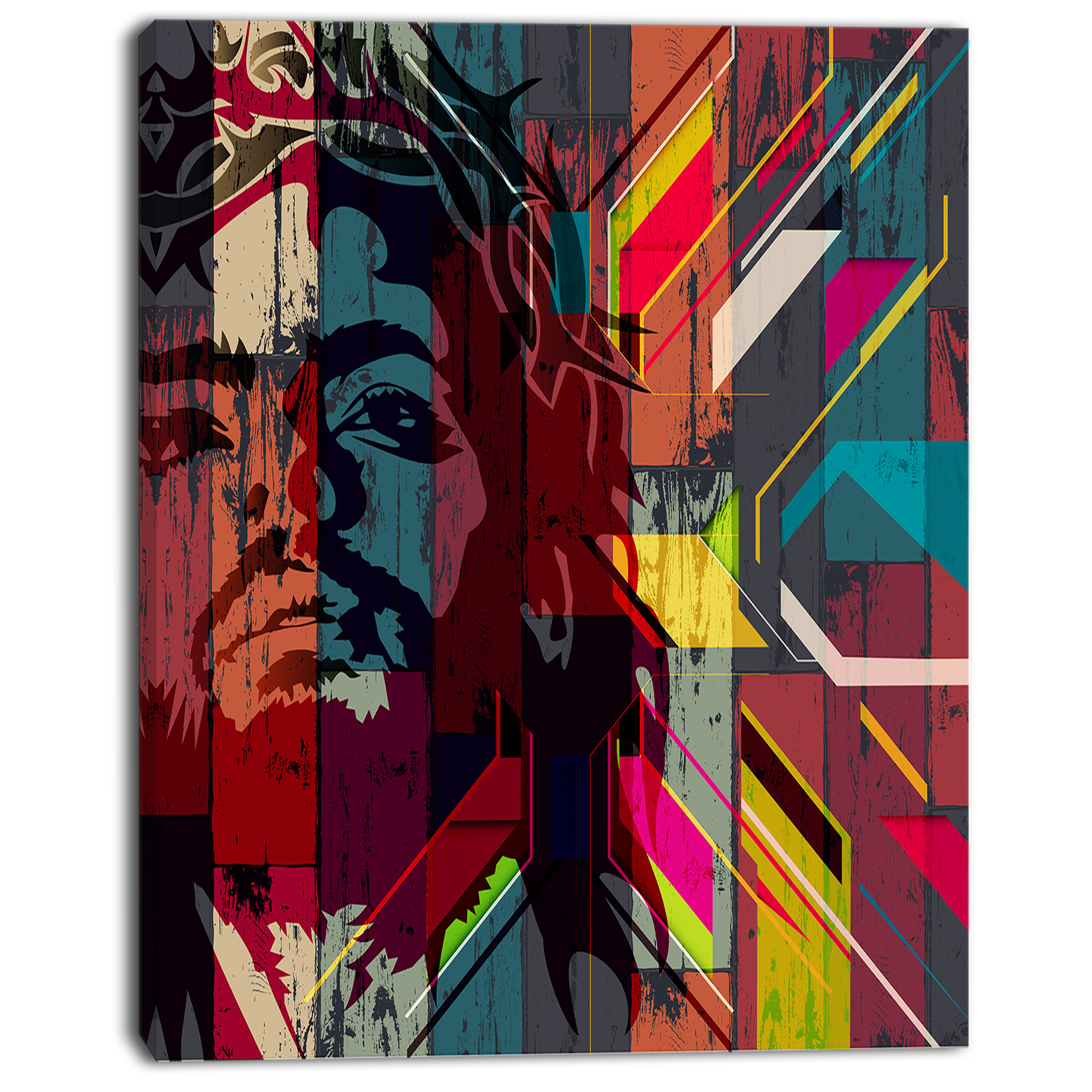 Jesus over Abstract Wooden Design - Large Abstract Canvas Art - image 3 de 3