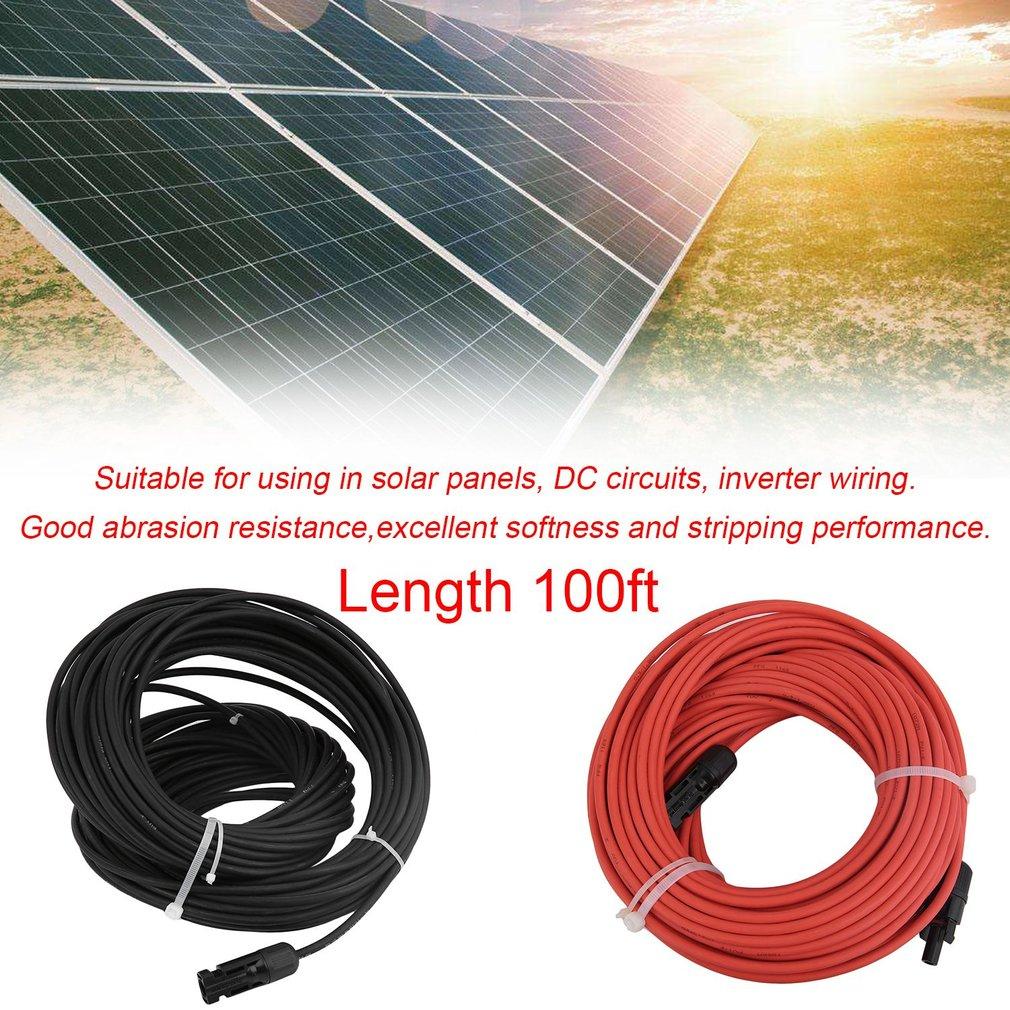 1 Pair MC4 Solar Panel Extension Connector 10 AWG PV Cabl...