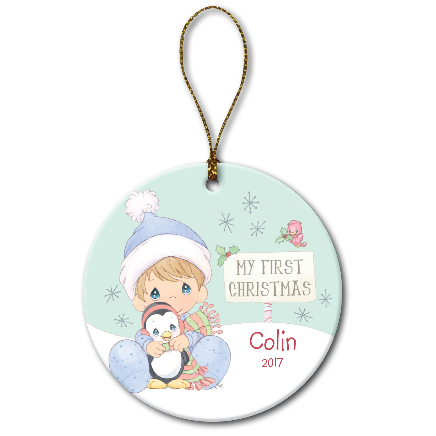 Personalized Precious Moments Christmas Ornament - His First Christmas