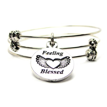 Feeling Blessed Triple Style Expandable Bangle Bracelet Fits 7 5 Wrist Chubby Chico Charms