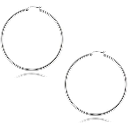 2mm Large Hoop Earrings - Sterling Silver 2mm x 45mm Plain Hoop Earrings