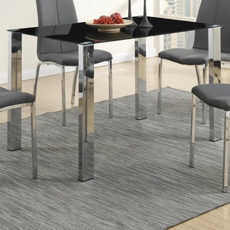 Benzara Metal Based Dining Table With Dramatic Black Glass Top