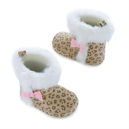 Newborn Baby Girls Cheetah Fur Boots, 0-6M - Baby Cheetah Games
