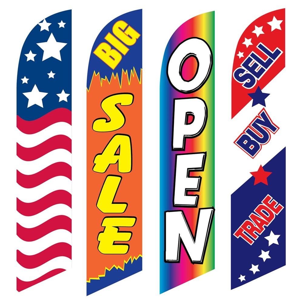 4 Advertising Swooper Flags USA Big Sale Open Sell Buy Trade