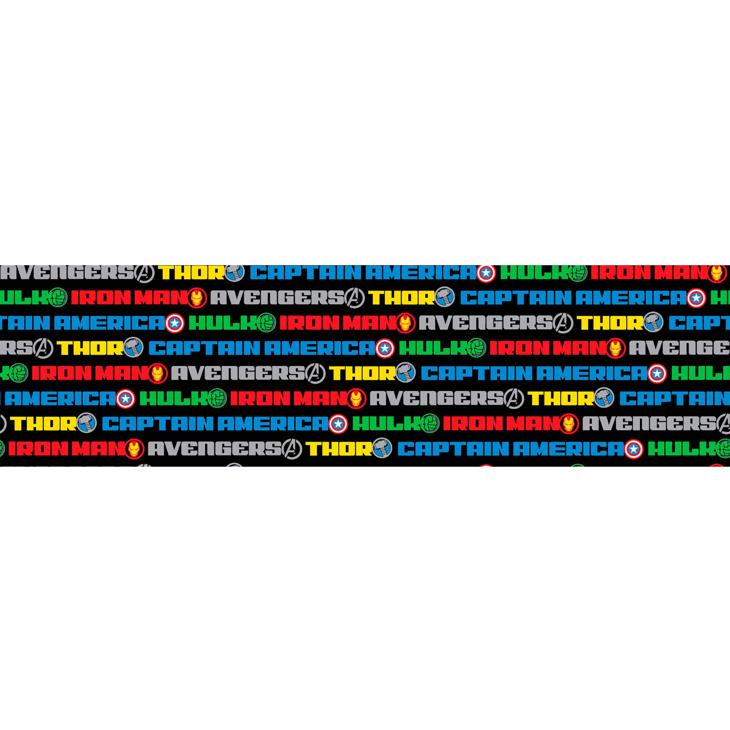 "Marvel Avengers Name Stripe, Flannel, Multi-Colored, 42/43"" Width, Fabric by the Yard"